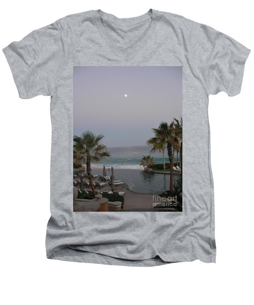Men's V-Neck T-Shirt featuring the photograph Cabo Moonlight by Susan Garren