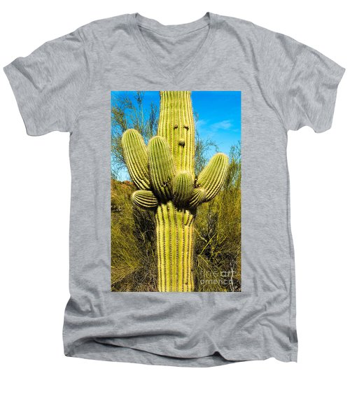 Men's V-Neck T-Shirt featuring the photograph Cactus Face by Mae Wertz