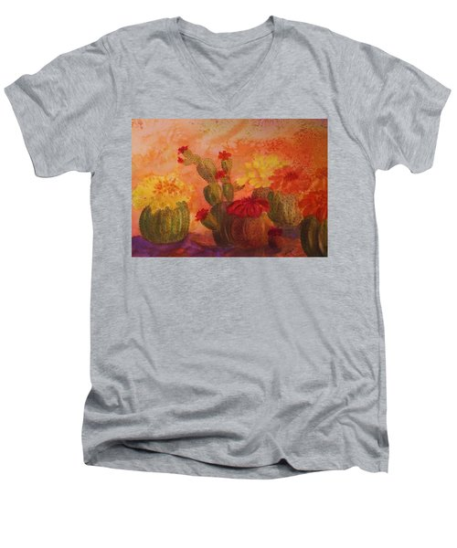 Cactus Garden Men's V-Neck T-Shirt by Ellen Levinson