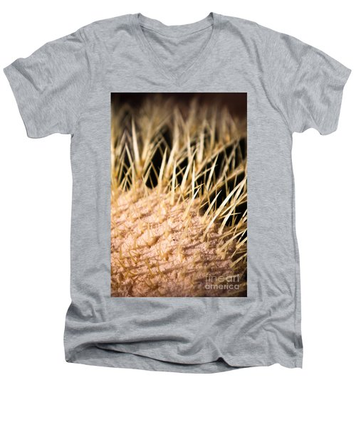 Men's V-Neck T-Shirt featuring the photograph Cactus Skin by John Wadleigh