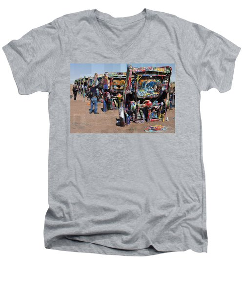 Cadillac Ranch Oblique Men's V-Neck T-Shirt