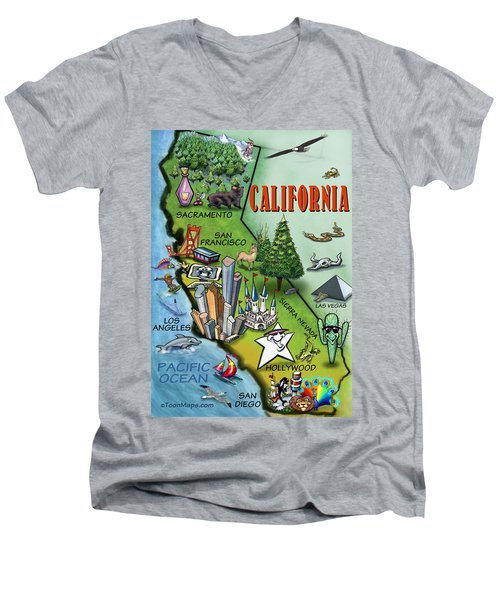 California Cartoon Map Men's V-Neck T-Shirt by Kevin Middleton