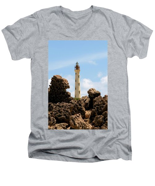 California Lighthouse Aruba Men's V-Neck T-Shirt