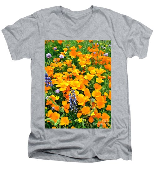 California Poppies And Betham Lupines Southern California Men's V-Neck T-Shirt by Dave Welling