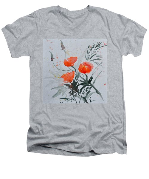 California Poppies Sumi-e Men's V-Neck T-Shirt