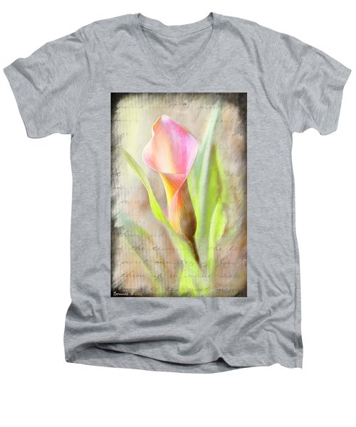 Calla Lily In Pink Men's V-Neck T-Shirt