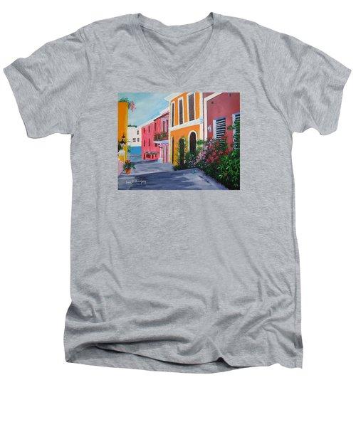 Callejon En El Viejo San Juan Men's V-Neck T-Shirt by Luis F Rodriguez