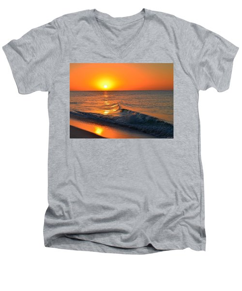 Calm And Clear Sunrise On Navarre Beach With Small Perfect Wave Men's V-Neck T-Shirt by Jeff at JSJ Photography