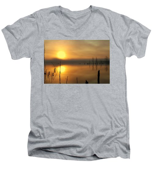 Calm At Dawn Men's V-Neck T-Shirt by Roger Becker