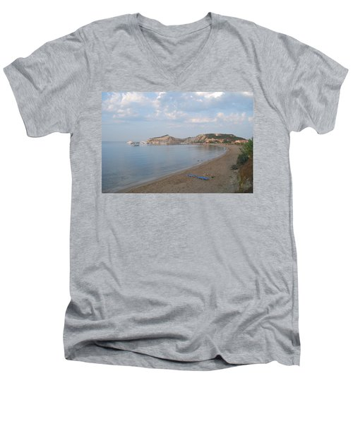 Men's V-Neck T-Shirt featuring the photograph Calm Sea by George Katechis