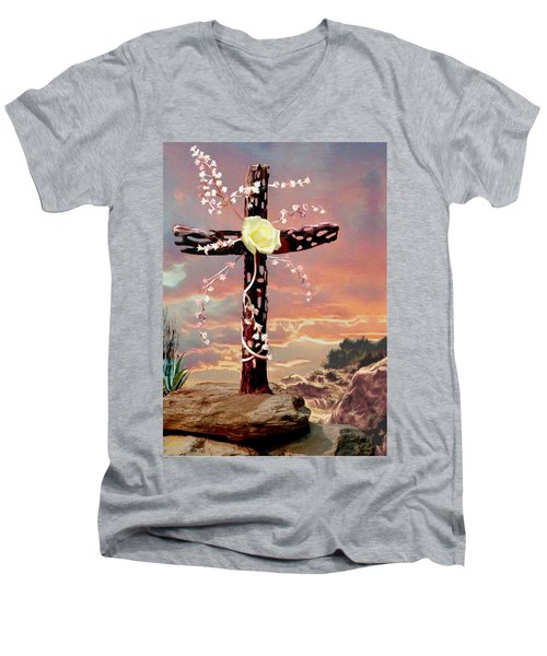 Calvary Cross Men's V-Neck T-Shirt