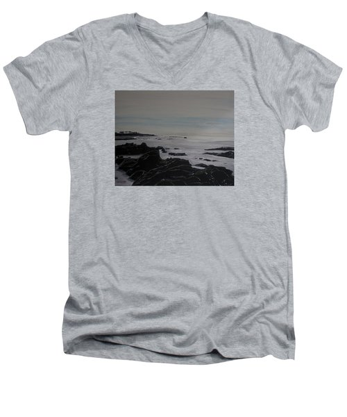 Men's V-Neck T-Shirt featuring the painting Cambria Tidal Pools by Ian Donley