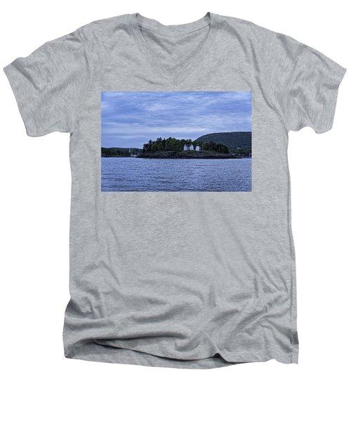 Camden Twilight N Curtis Island Light House Men's V-Neck T-Shirt by Daniel Hebard