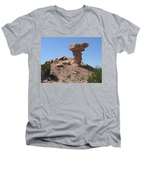 Men's V-Neck T-Shirt featuring the photograph Camel Rock - Natural Rock Formation by Dora Sofia Caputo Photographic Art and Design