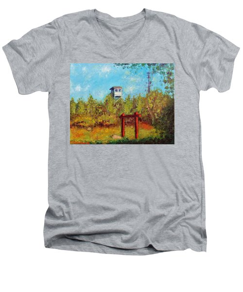 Men's V-Neck T-Shirt featuring the painting Camel Top Fire Tower by Jason Williamson