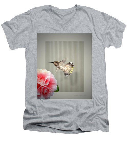 Men's V-Neck T-Shirt featuring the photograph Camellia And Hummer by Joyce Dickens