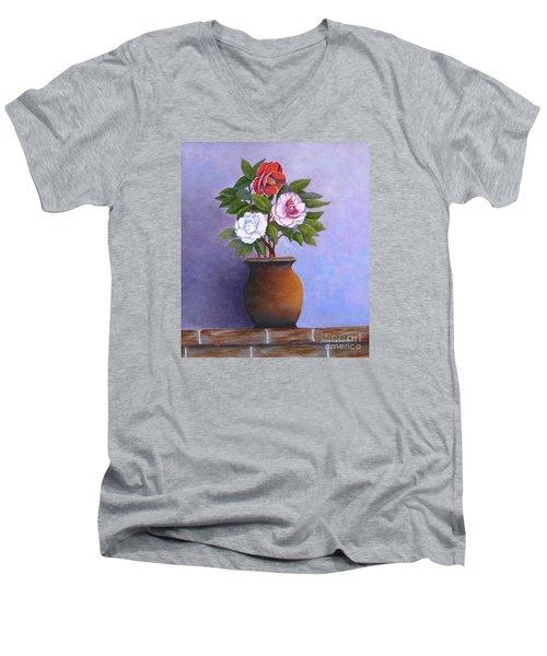 Camellia Bouquet Men's V-Neck T-Shirt
