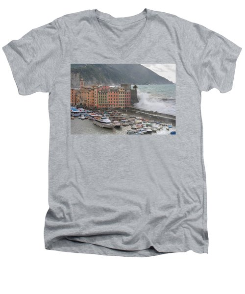 Men's V-Neck T-Shirt featuring the photograph Camogli Under A Storm by Antonio Scarpi