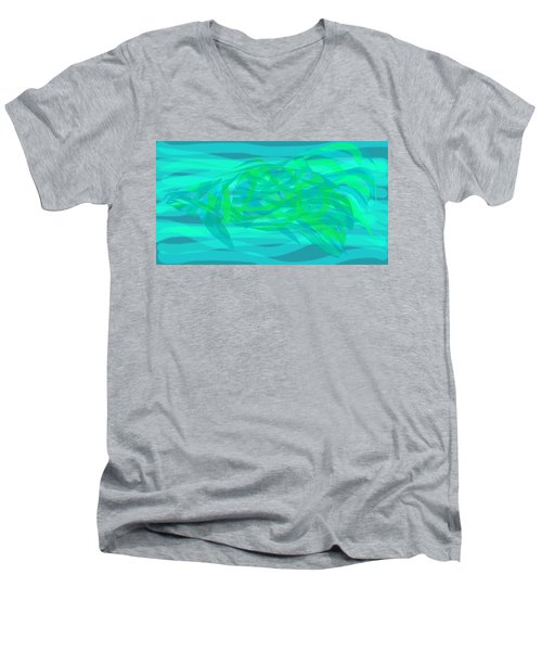 Men's V-Neck T-Shirt featuring the digital art Camouflage Fish by Stephanie Grant
