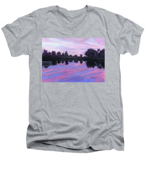 Men's V-Neck T-Shirt featuring the painting Camp Sunset by Lynne Reichhart
