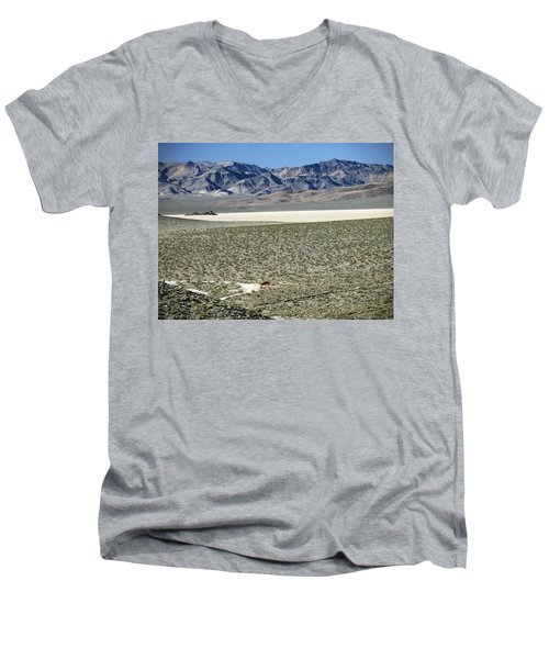 Men's V-Neck T-Shirt featuring the photograph Camped At The End Of The Road by Joe Schofield