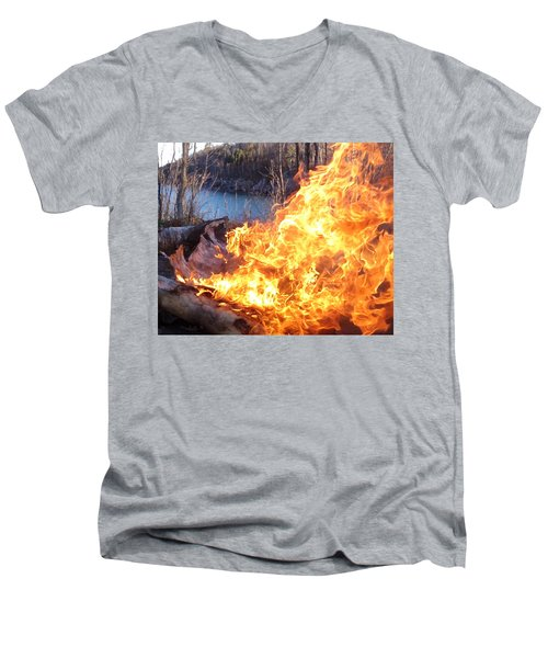 Men's V-Neck T-Shirt featuring the photograph Campfire by James Peterson