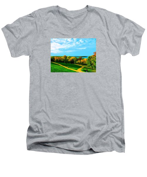 Men's V-Neck T-Shirt featuring the photograph Campus Fall Colors by Zafer Gurel