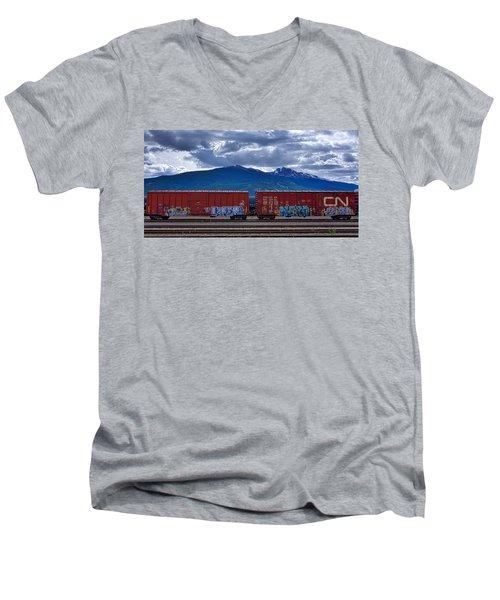 Canadian Freight Train In Jasper Men's V-Neck T-Shirt by Stuart Litoff