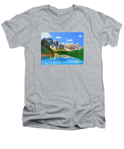 Men's V-Neck T-Shirt featuring the painting Canadian Mountains And Lake  by Magdalena Frohnsdorff