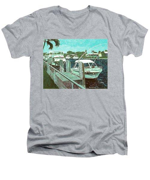 Canal At Pompano Men's V-Neck T-Shirt