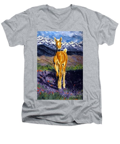 Candy Rocky Mountain Palomino Colt Men's V-Neck T-Shirt by Jackie Carpenter
