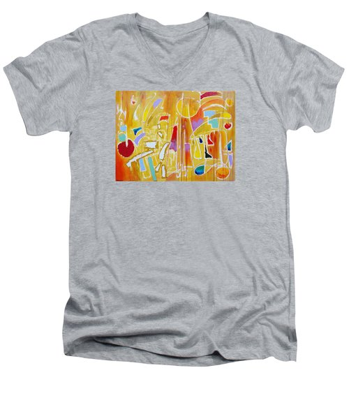 Men's V-Neck T-Shirt featuring the painting Candy Shop Garnish by Jason Williamson