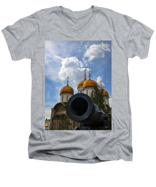 Cannon And Cathedral  - Russia Men's V-Neck T-Shirt by Madeline Ellis