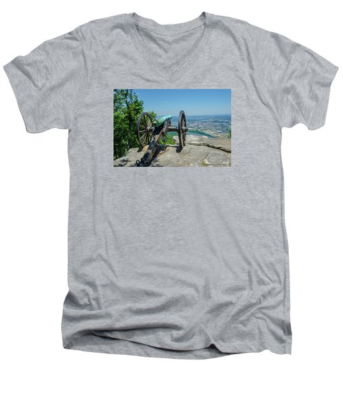 Men's V-Neck T-Shirt featuring the photograph Cannon At Point Park by Susan  McMenamin
