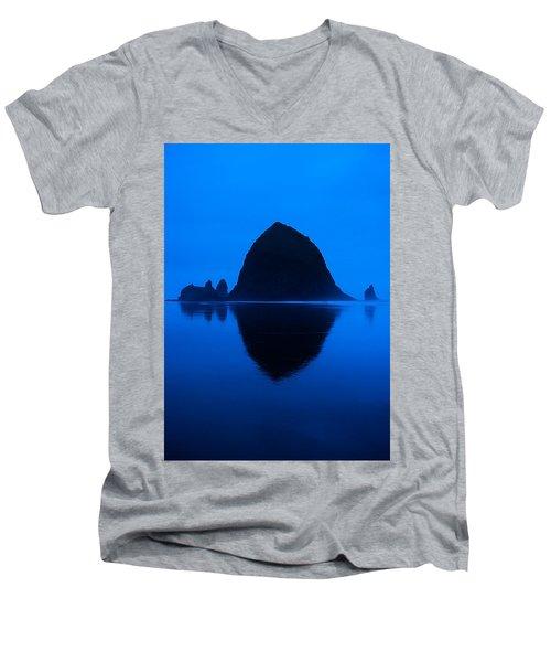 Cannon Beach Blue Men's V-Neck T-Shirt