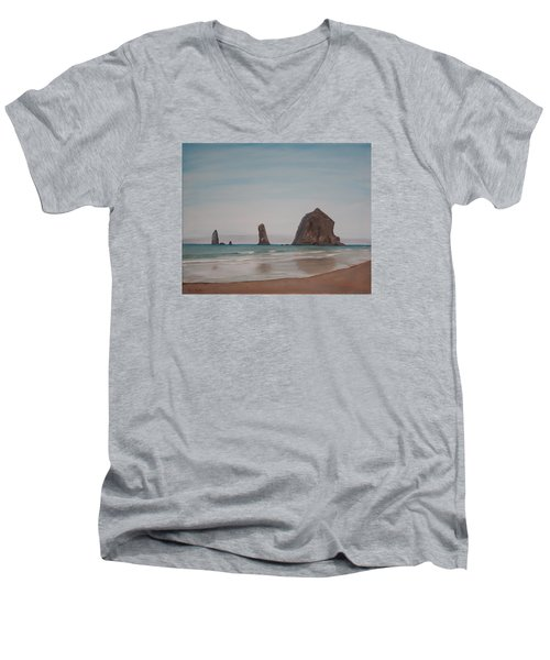 Men's V-Neck T-Shirt featuring the painting Cannon Beach Haystack Rock by Ian Donley