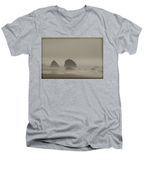 Men's V-Neck T-Shirt featuring the photograph Cannon Beach In A Fog Oregon by Yulia Kazansky