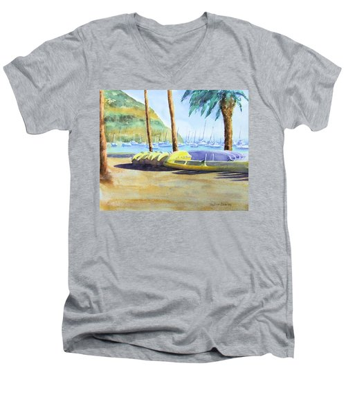 Canoes And Surfboards In The Morning Light - Catalina Men's V-Neck T-Shirt