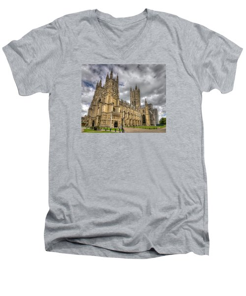 Men's V-Neck T-Shirt featuring the photograph Canterbury Cathedral by Tim Stanley