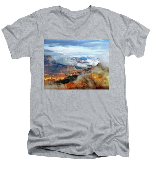Men's V-Neck T-Shirt featuring the photograph Canyon Clouds by Alan Socolik