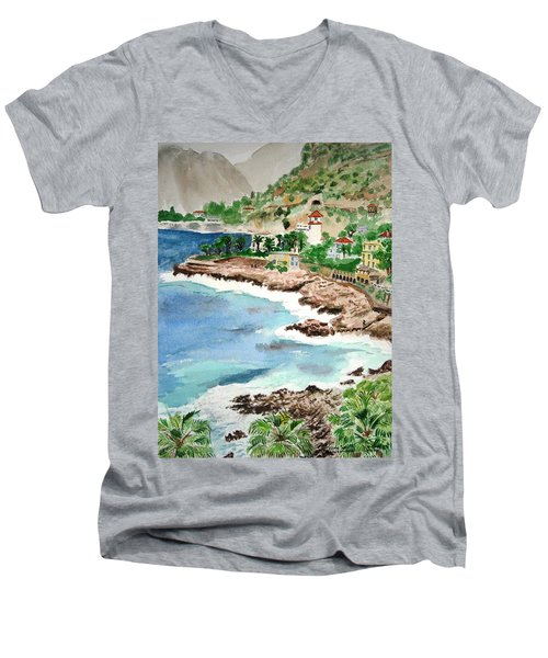 Cap D'ail On A Rainy Day Men's V-Neck T-Shirt