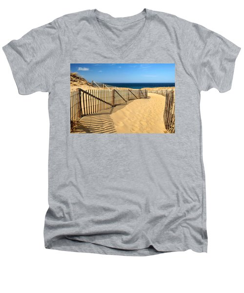 Men's V-Neck T-Shirt featuring the photograph Cape Cod Beach by Mitchell R Grosky