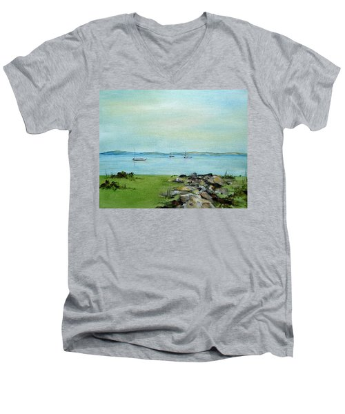 Cape Cod  Boats Men's V-Neck T-Shirt by Judith Rhue