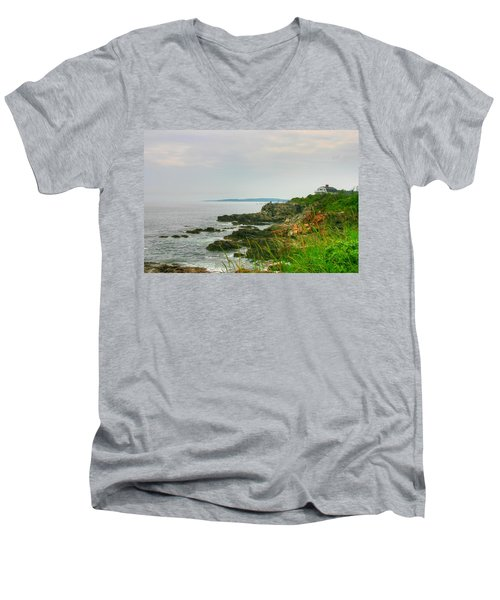 Cape Elizabeth Maine Men's V-Neck T-Shirt by Denyse Duhaime