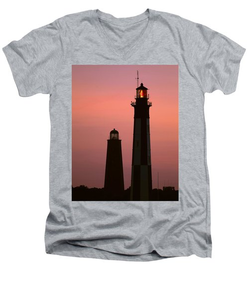 Cape Henry Lighthouses  Men's V-Neck T-Shirt