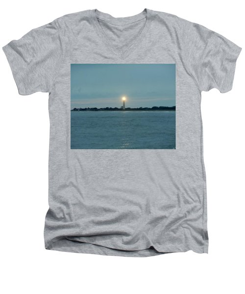 Men's V-Neck T-Shirt featuring the photograph Cape May Beacon by Ed Sweeney