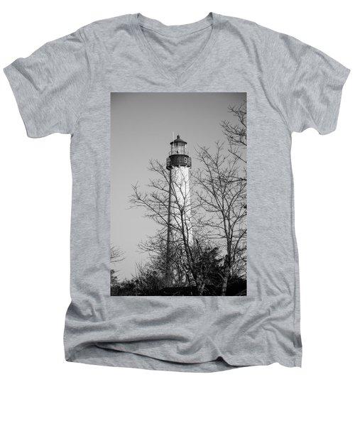 Cape May Light B/w Men's V-Neck T-Shirt