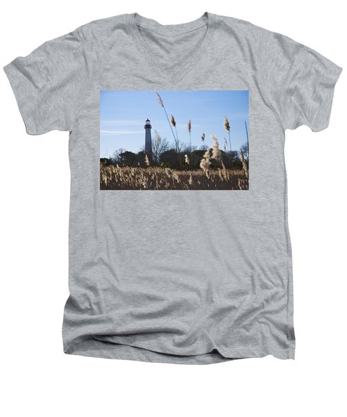 Men's V-Neck T-Shirt featuring the photograph Cape May Light by Jennifer Ancker