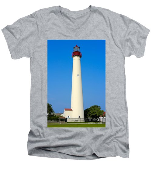Cape May Lighthouse Men's V-Neck T-Shirt by Anthony Sacco