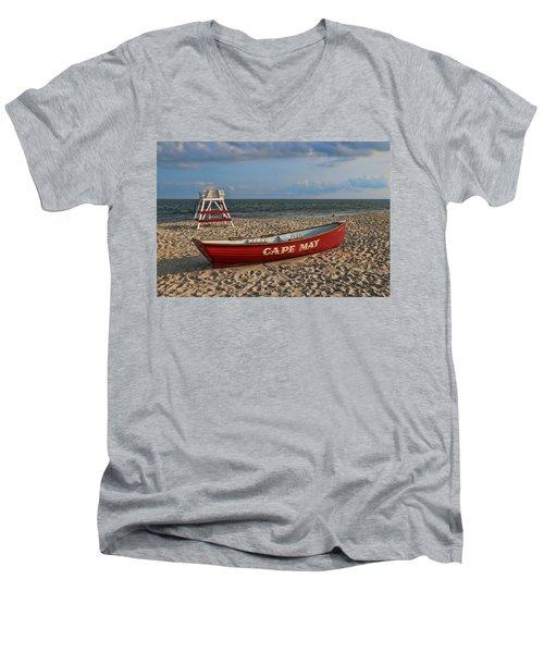 Cape May N J Rescue Boat Men's V-Neck T-Shirt